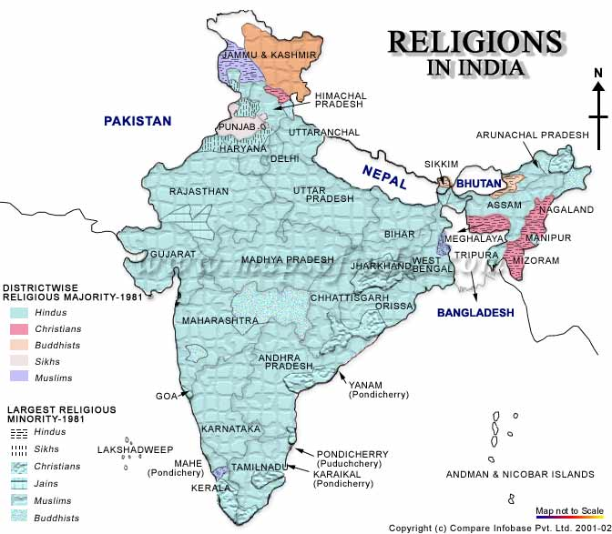 Map of religions in India